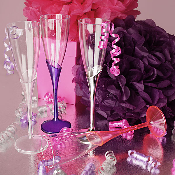 Plastic Champagne Wine Flutes Wedding Party Gles Disposable Or Reusable Color