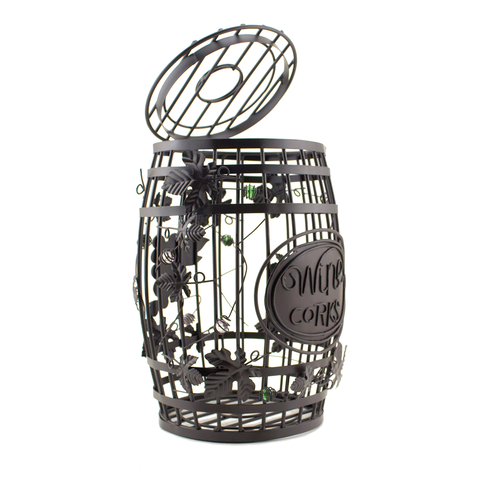 wine barrel cork holder home kitchen decor organization metal barrel cage