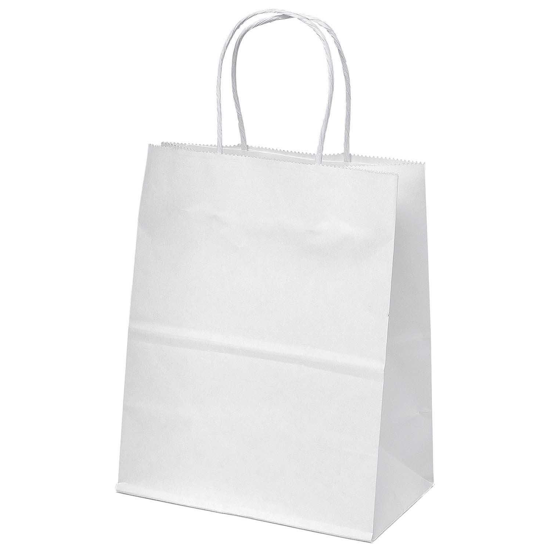 White Kraft Paper Bags Merchandise Shopping Party Favor